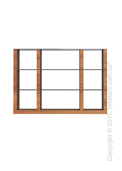 Книжный шкаф Calligaris Lib, Modular bookcase with open compartment, Veneer walnut and Glass smoked grey