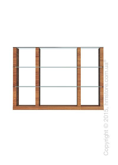 Книжный шкаф Calligaris Lib, Modular bookcase with open compartment, Veneer walnut and Glass transparent