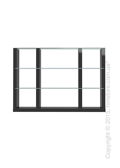 Книжный шкаф Calligaris Lib, Modular bookcase with open compartment, Finish glossy black and Glass transparent