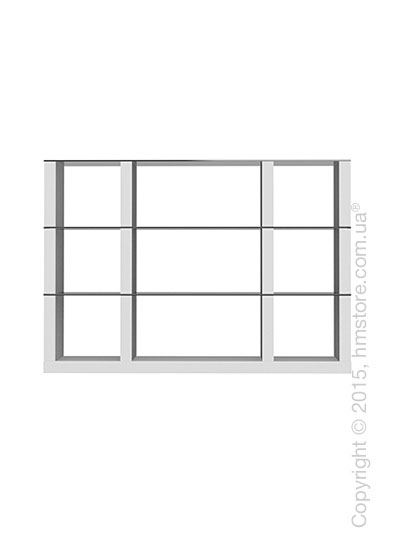 Книжный шкаф Calligaris Lib, Modular bookcase with open compartment, Finish matt optic white and Glass smoked grey