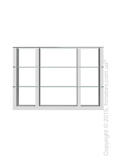 Книжный шкаф Calligaris Lib, Modular bookcase with open compartment, Finish matt optic white and Glass transparent