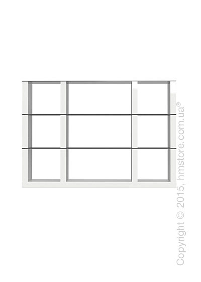 Книжный шкаф Calligaris Lib, Modular bookcase with open compartment, Finish glossy white and Glass smoked grey