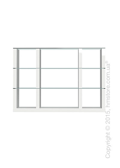 Книжный шкаф Calligaris Lib, Modular bookcase with open compartment, Finish glossy white and Glass transparent
