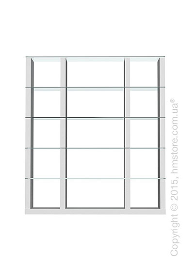 Книжный шкаф Calligaris Lib, Tall double-sided modular bookcase, Finish matt optic white and Glass transparent