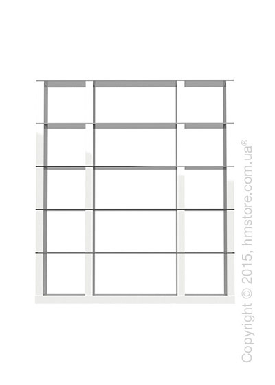 Книжный шкаф Calligaris Lib, Tall double-sided modular bookcase, Finish glossy white and Glass smoked grey
