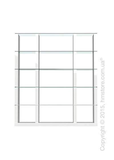 Книжный шкаф Calligaris Lib, Tall double-sided modular bookcase, Finish glossy white and Glass transparent
