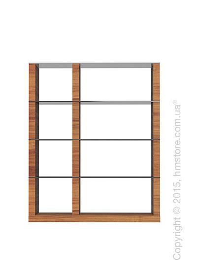 Книжный шкаф Calligaris Lib, Modular bookcase, Veneer walnut and Glass smoked grey