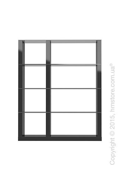 Книжный шкаф Calligaris Lib, Modular bookcase, Finish glossy black and Glass smoked grey