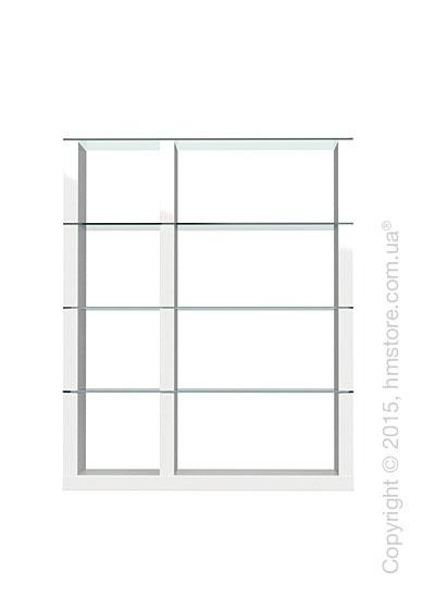 Книжный шкаф Calligaris Lib, Modular bookcase, Finish glossy white and Glass transparent