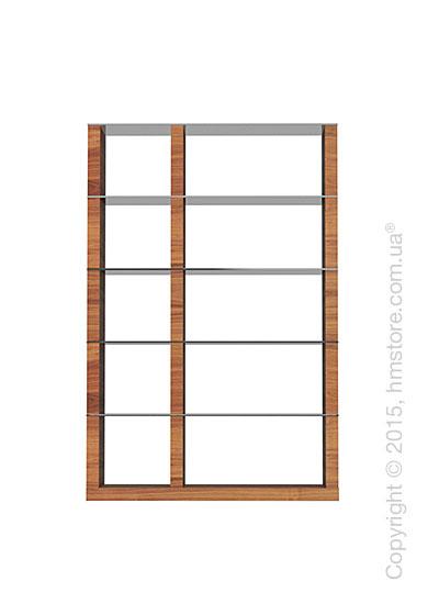 Книжный шкаф Calligaris Lib, Double-sided tall bookcase, Veneer walnut and Glass smoked grey