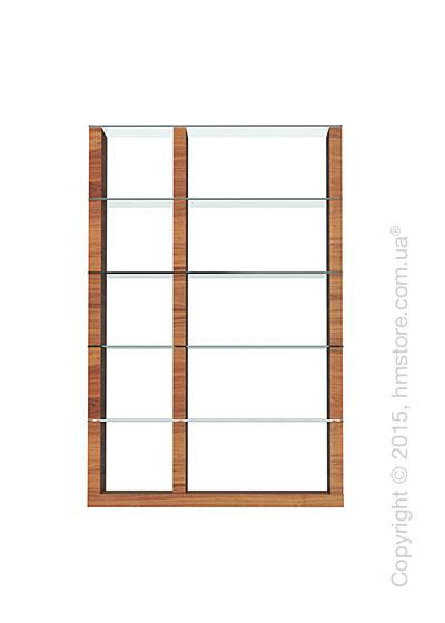 Книжный шкаф Calligaris Lib, Double-sided tall bookcase, Veneer walnut and Glass transparent