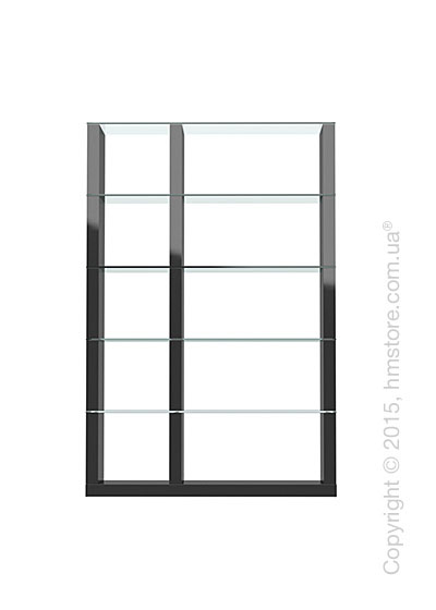 Книжный шкаф Calligaris Lib, Double-sided tall bookcase, Finish glossy black and Glass transparent