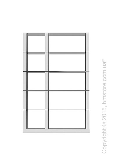 Книжный шкаф Calligaris Lib, Double-sided tall bookcase, Finish matt optic white and Glass smoked grey