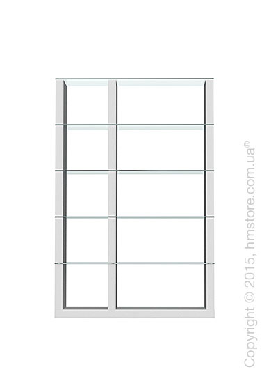 Книжный шкаф Calligaris Lib, Double-sided tall bookcase, Finish matt optic white and Glass transparent