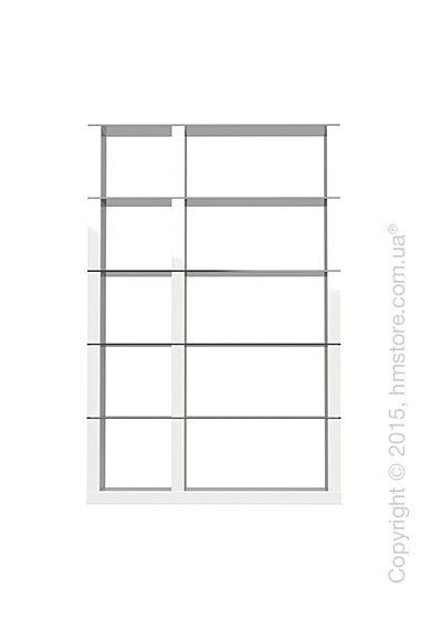 Книжный шкаф Calligaris Lib, Double-sided tall bookcase, Finish glossy white and Glass smoked grey