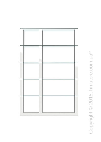 Книжный шкаф Calligaris Lib, Double-sided tall bookcase, Finish glossy white and Glass transparent
