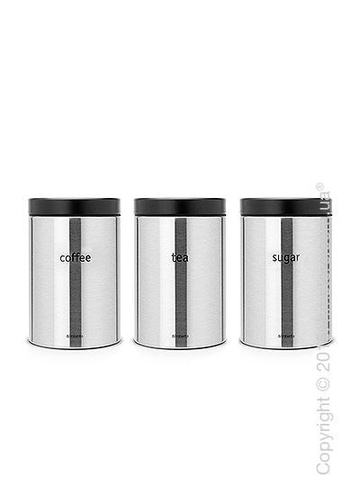 Набор емкостей для хранения сыпучих продуктов Brabantia Round Canister 1,4 л, Matt Steel
