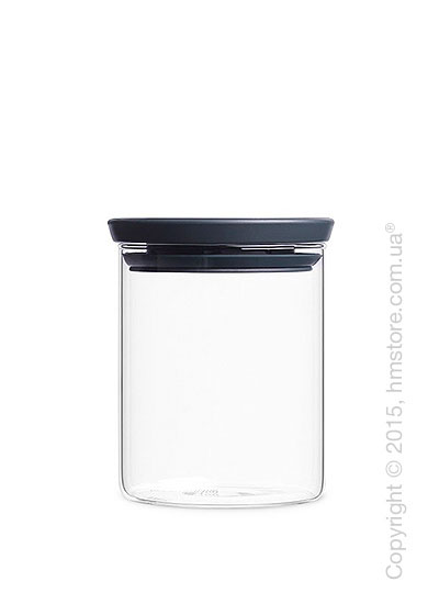 Емкость для хранения сыпучих продуктов Brabantia Stackable Glass Jar 0,6 л, Dark Grey