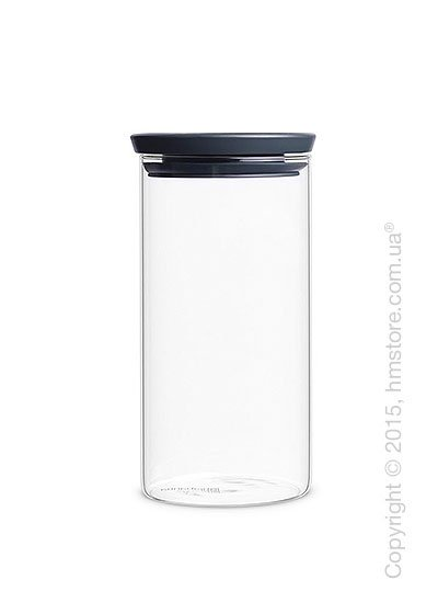 Емкость для хранения сыпучих продуктов Brabantia Stackable Glass Jar 1,1 л, Dark Grey