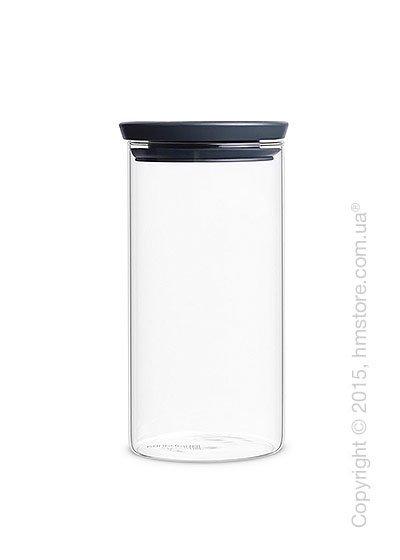 Емкость для хранения сыпучих продуктов Brabantia Stackable Glass Jar 1,1 л, Dark Grey