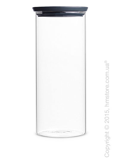 Емкость для хранения сыпучих продуктов Brabantia Stackable Glass Jar 1,9 л, Dark Grey