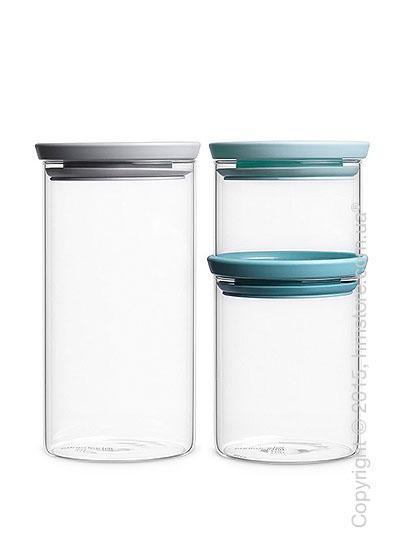 Набор емкостей для хранения сыпучих продуктов Brabantia Stackable Glass Jars, Dark Grey