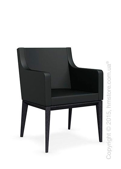 Кресло Calligaris Bess Armchair, Solid wood graphite beech stained and Leather black