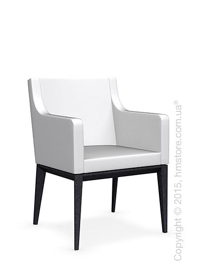 Кресло Calligaris Bess Armchair, Solid wood graphite beech stained and Leather optic white
