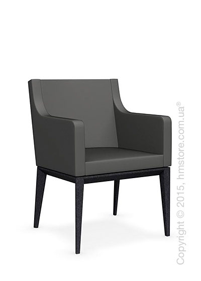 Кресло Calligaris Bess Armchair, Solid wood graphite beech stained and Leather taupe
