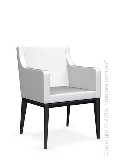 Кресло Calligaris Bess Armchair, Solid wood graphite beech stained and Gummy coating optic white