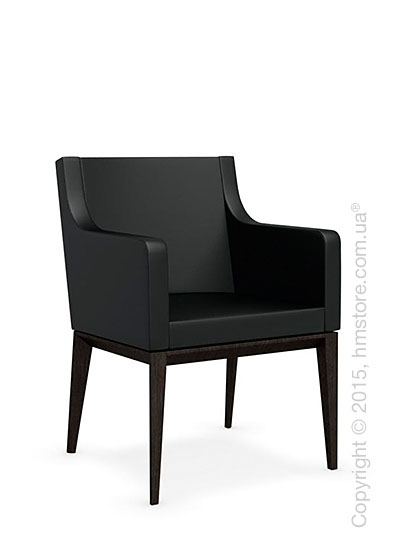 Кресло Calligaris Bess Armchair, Solid wood wenge beech stained and Gummy coating black