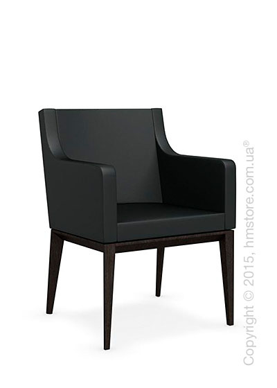 Кресло Calligaris Bess Armchair, Solid wood wenge beech stained and Leather black