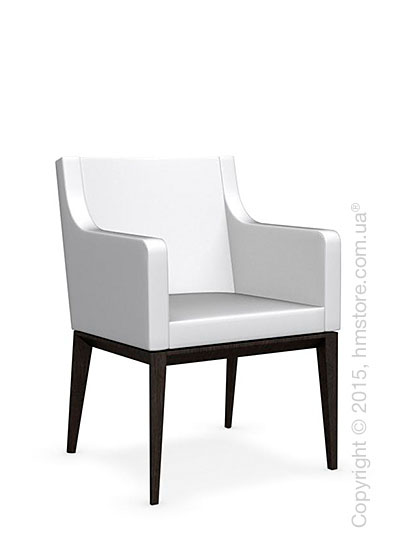 Кресло Calligaris Bess Armchair, Solid wood wenge beech stained and Leather optic white