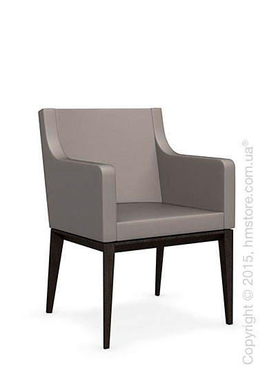 Кресло Calligaris Bess Armchair, Solid wood wenge beech stained and Gummy coating taupe