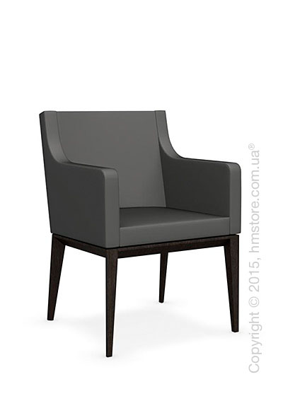 Кресло Calligaris Bess Armchair, Solid wood wenge beech stained and Leather taupe
