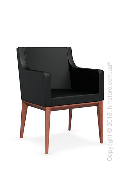 Кресло Calligaris Bess Armchair, Solid wood walnut beech stained and Gummy coating black