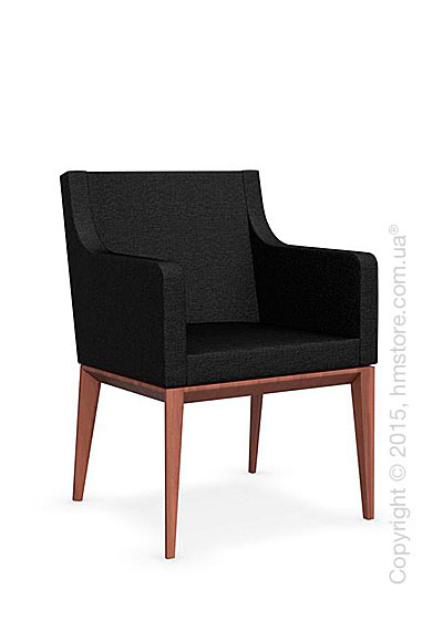 Кресло Calligaris Bess Armchair, Solid wood walnut beech stained and Denver fabric anthracite