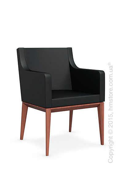 Кресло Calligaris Bess Armchair, Solid wood walnut beech stained and Leather black