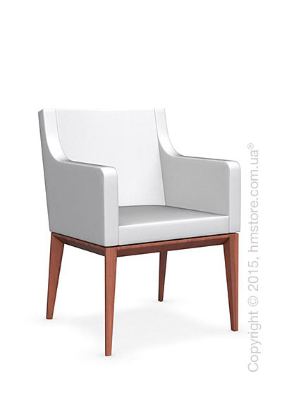 Кресло Calligaris Bess Armchair, Solid wood walnut beech stained and Leather optic white
