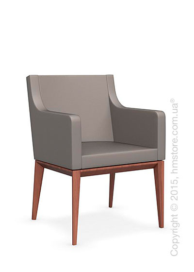 Кресло Calligaris Bess Armchair, Solid wood walnut beech stained and Gummy coating taupe
