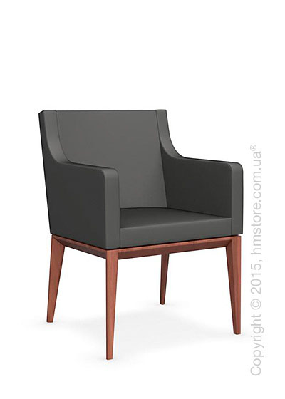 Кресло Calligaris Bess Armchair, Solid wood walnut beech stained and Leather taupe