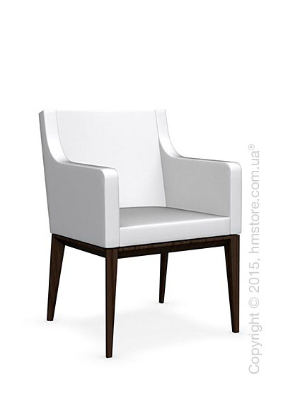 Кресло Calligaris Bess Armchair, Ashwood smoke and Leather optic white