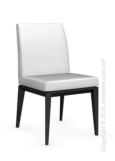 Стул Calligaris Bess Low, Solid wood graphite beech stained and Leather optic white