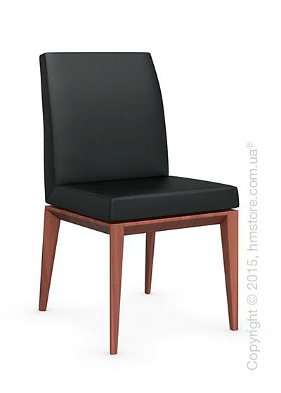 Стул Calligaris Bess Low, Solid wood walnut beech stained and Leather black