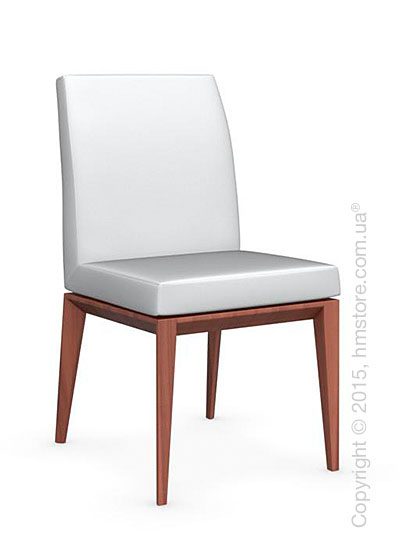 Стул Calligaris Bess Low, Solid wood walnut beech stained and Leather optic white