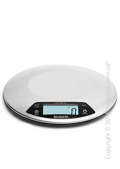 Весы кухонные с таймером Brabantia Digital Kitchen Scales, Matt Steel