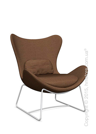 Кресло Calligaris Lazy, Metal matt optic white and Kama fabric taupe