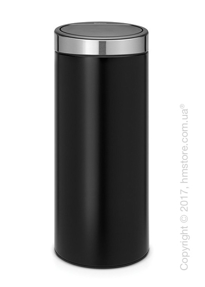 Ведро для мусора Brabantia Touch New Bin 30 л, Matt Black with Brilliant Steel Lid