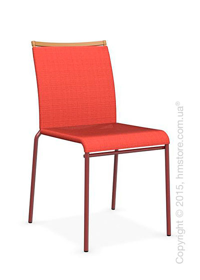 Стул Calligaris Web, Stackable metal chair, Metal matt red, Joy coating coral red and Metal matt mustard yellow