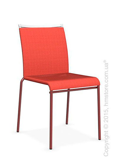 Стул Calligaris Web, Stackable metal chair, Metal matt red, Joy coating coral red and Metal matt optic white